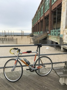 My Canondale Fixie on the boardwalk in Asbury Park early January 2017.